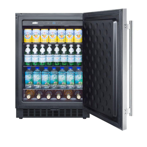 "24"" Outdoor Built-In Stainless Steel Beverage Refrigerator"