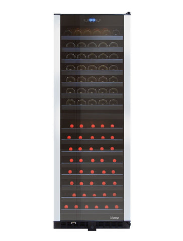 155 Bottle Dual Zone Wine Refrigerator Black with Brushed Stainless Trim