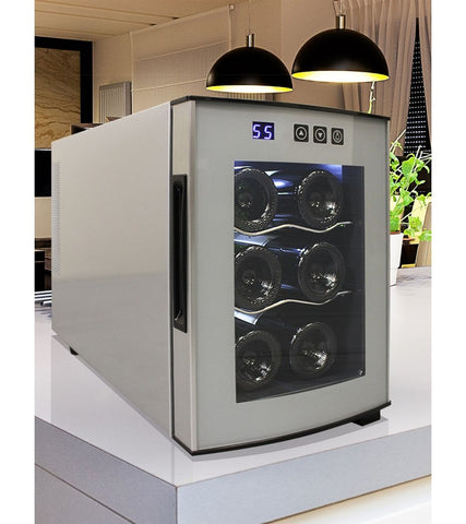 6 Bottle Thermoelectric Wine Cooler With Rounded Glass Door, Silver Body