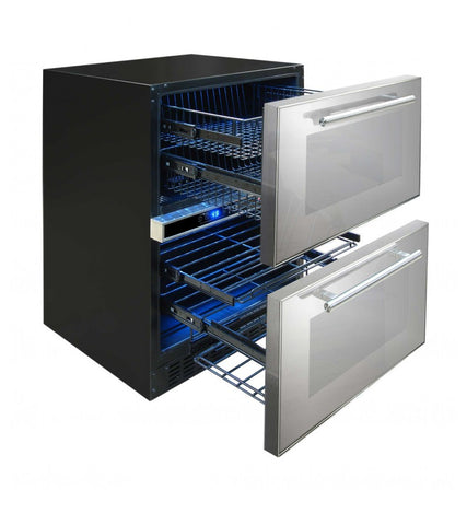 24-Bottle Mirrored Two Drawer Wine & Beverage Cooler