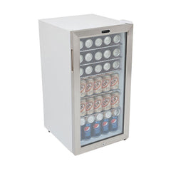 Beverage Refrigerator With Lock - Stainless Steel 120 Can Capacity