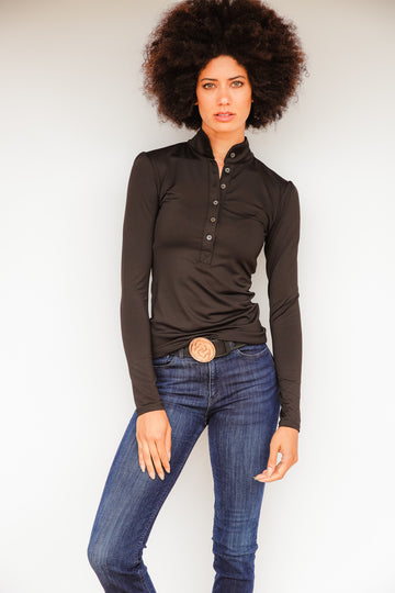 Long Sleeve Women's Mandarin Collar Performance Shirt