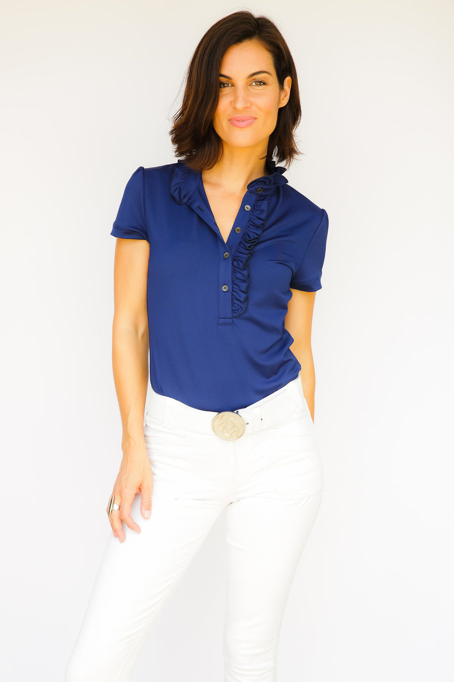 Short Sleeve Women's Ruffle Shirt