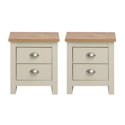 2x NIGHTSTAND WITH 2 DRAWERS