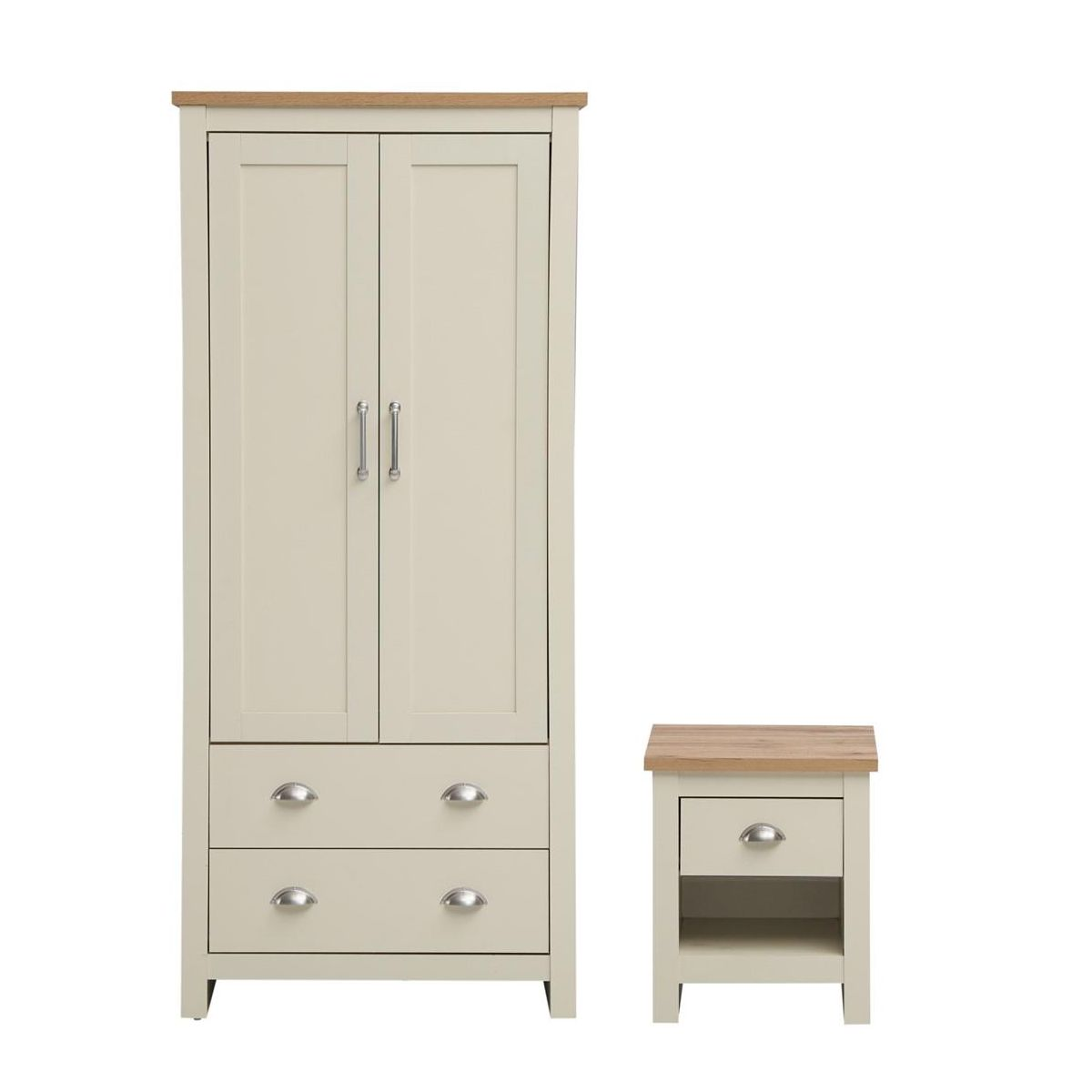 2 PIECE BEDROOM SET (2 DOOR WARDROBE, 1 DRAWER BEDSIDE)