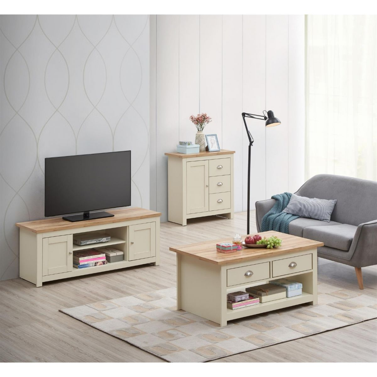 3 PIECE LIVING ROOM SET (2 DOOR TV UNIT, 1 DOOR SIDEBOARD, 2 DRAWER COFFEE TABLE)