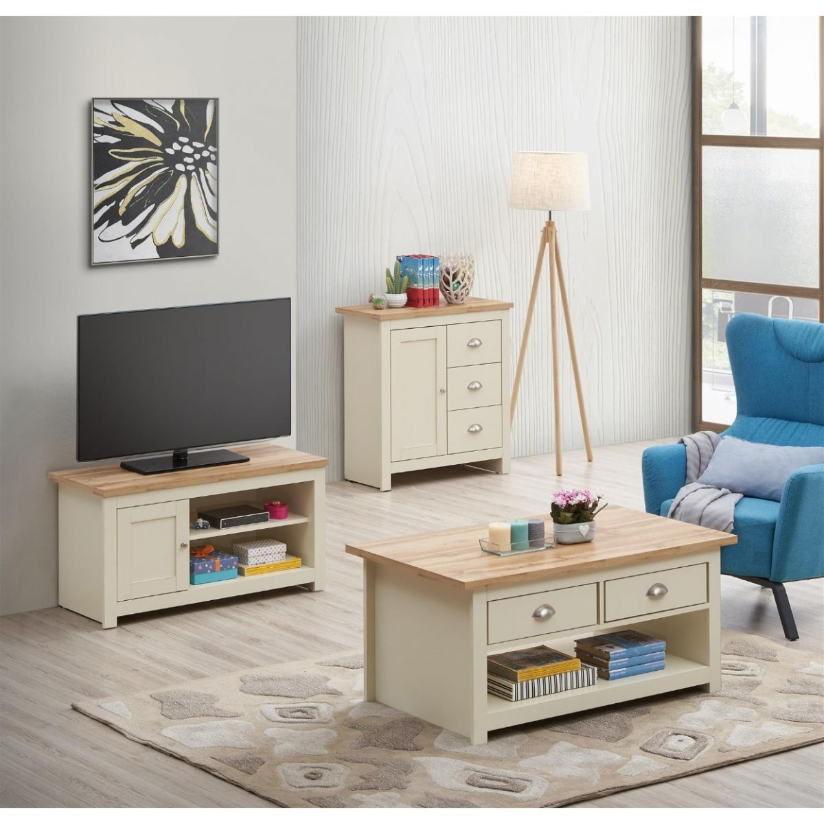 3 PIECE LIVING ROOM SET (1 DOOR TV UNIT, 1 DOOR SIDEBOARD, 2 DRAWER COFFEE TABLE)