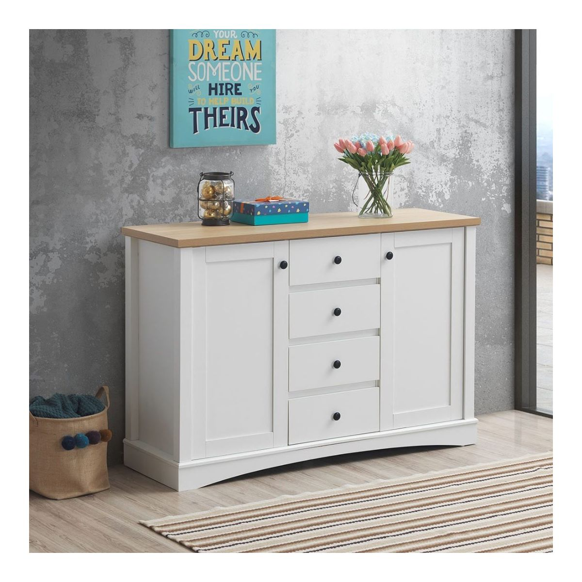 Sideboard with 2 Doors & 4 Drawers