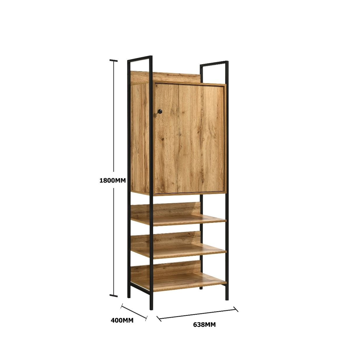 Storage Cabinet with 1 Door & 3 Shelves