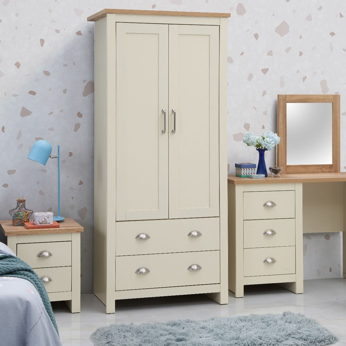 3 Piece Bedroom Set (2 Door Wardrobe, 2+2 Chest, 2 Drawer Bedside)