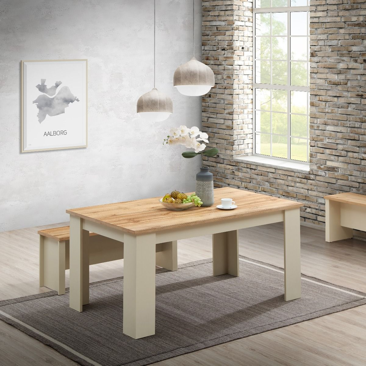 Dining Table 150 cm with 2 Benches 2 Stools Set