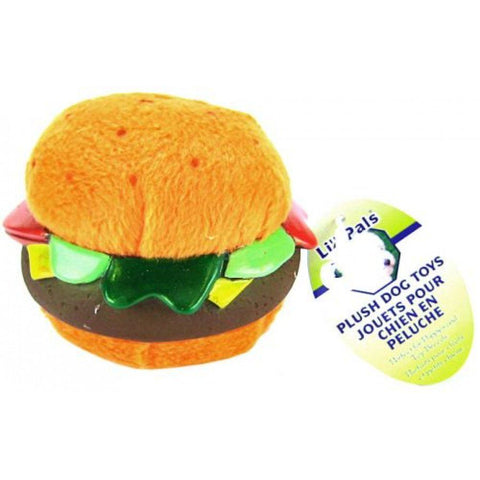 Li'l Pals Plush Hamburger Dog Toy
