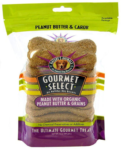 Natures Animals Gourmet Select Organic Dog Bone - Peanut Butter Flavor
