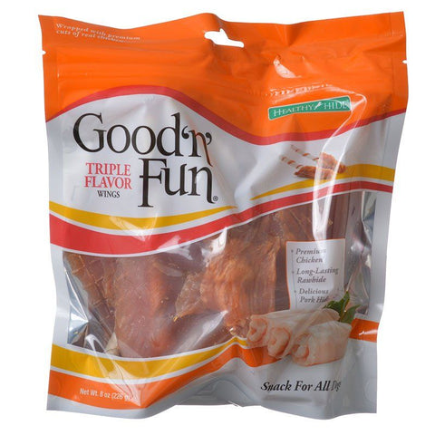 Healthy Hide Good 'n' Fun Triple-Flavor Wings - Chicken, Rawhide & Pork Hide