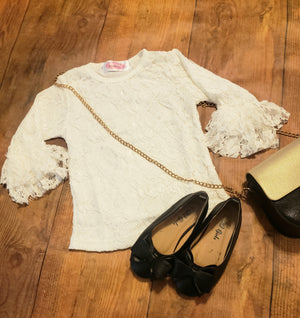 Girls White Lace Ruffle Sleeve top