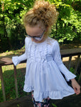 Girl's White Ruffle Front Tunic