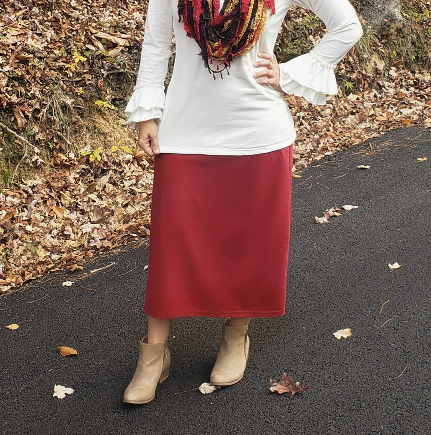 Burgundy(Deep Red) Midi Skirts