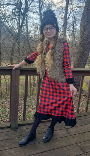 Girl's Red and Black Buffalo Plaid Midi Dress