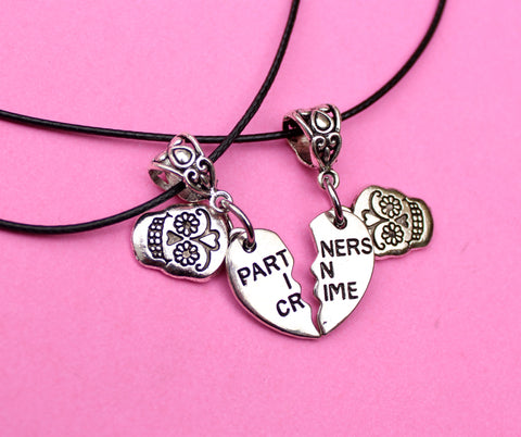 Partners in Crime charm necklace set