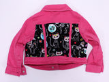 Skeleton kitty kids denim jacket