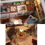 Cuteroom Dollhouse Miniature Dining Room DIY Kit With Cover And LED