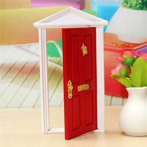 1/12 Dollhouse Miniature Wood Fairy Door Red Assembled With Metal Accessories Toy