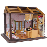 Hoomeda Sushi Bar DIY Wood Dollhouse Miniature With LED Furniture