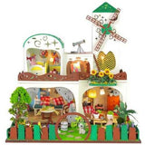 Hoomeda DIY Wood Dollhouse Miniature With LED Furniture Cover Garden Dream