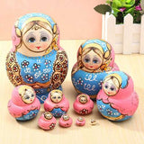 10pcs Hand Painted Blue Dolls Set Wooden Russian Nesting Babushka Matryoshka