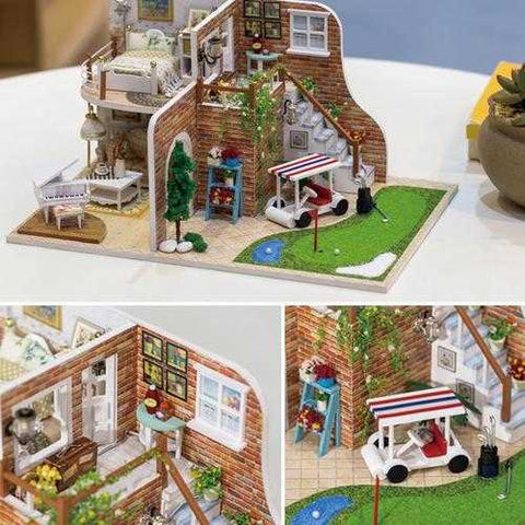 Hoomeda 1/24 DIY Wooden Golf Tour With LED+Furniture Dollhouse