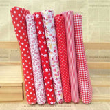 "Red Cotton 7 Assorted Pre Cut 10"" Squares Quilt Fabric DIY Craft Sewing New"