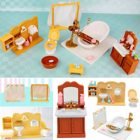 DIY Miniatures Bedroom Bathroom Furniture Sets For Sylvanian Family Dollhouse Accessories Toys Gift