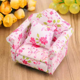 1:12 Dollhouse Miniature Pink Floral Armchair Single Sofa Toys Furniture Ornaments Christmas Gift