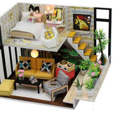 Hoomeda M031 Cynthia's Holiday DIY House With Furniture Music Light Cover Miniature Model Gift Decor