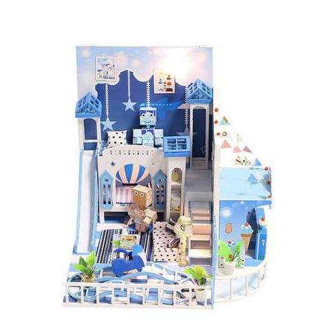 iiecreate K-030 Childishness Little Wish DIY Doll House With Furniture Light Cover Gift Toy