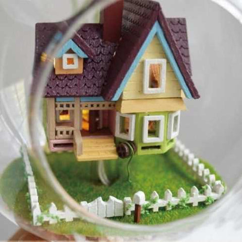DIY House Flying House Glass Ball With Lamp Handmade Wooden Toys