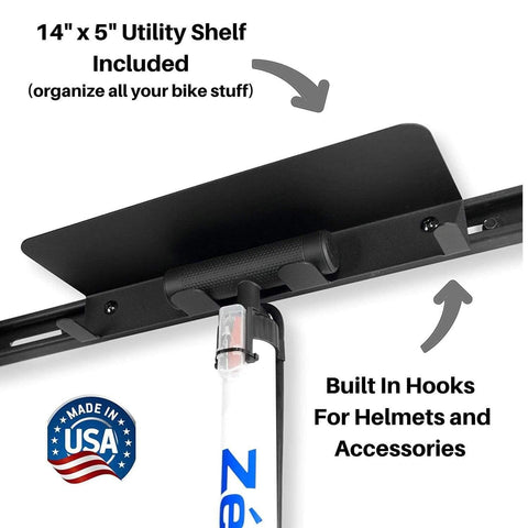 Utility shelf for Koova bike hanger for helmets, pumps, tools, and other accessories