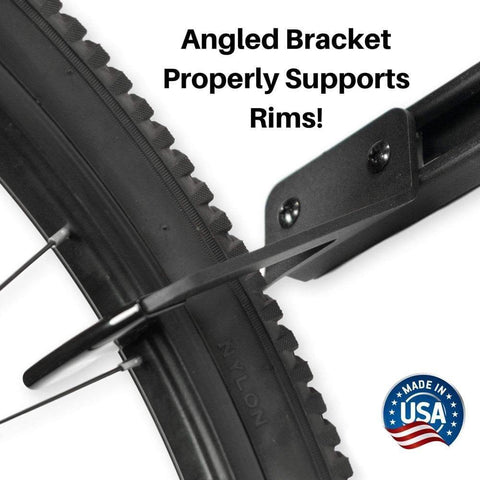 Wall mount bike storage that properly supports bicycle rims