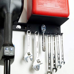 Gas can shelf with tool holders for garage storage