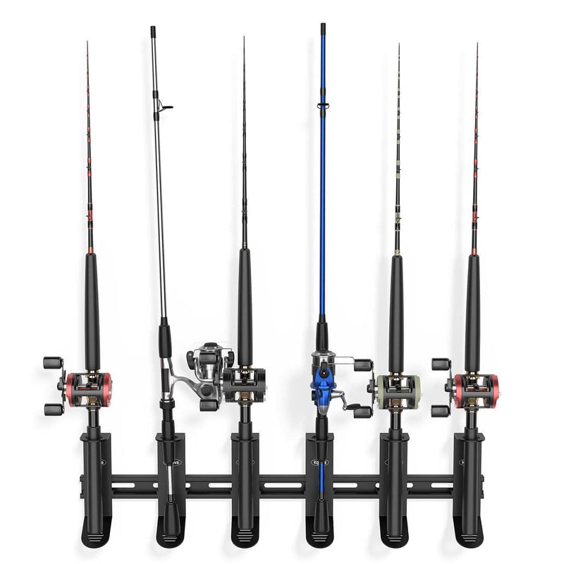 Wall mounted fishing rod holder for spinning fishing poles
