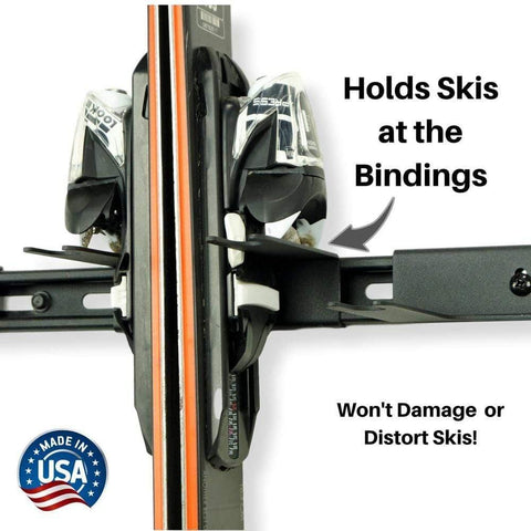 Snow ski rack for the garage holds skis safely at the bindings