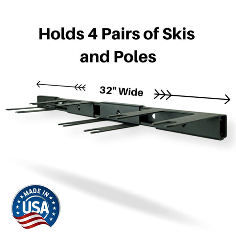 Hold 4 pairs of skis with the Koova wall ski rack