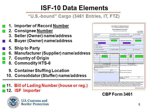Importing goods from EU to USA - ISF filling form