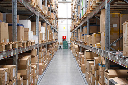 Warehouse with boxes - import of goods from EU to USA