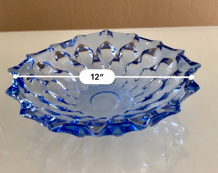 crystal glassware blue decorative bowl