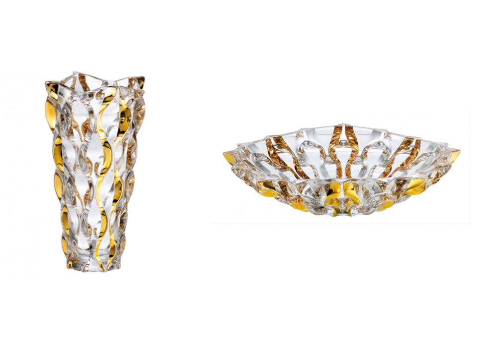 Golden crystal glass vase & bowl set