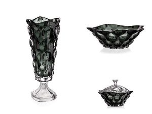 Crystal glass wedding gift set - black