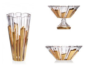 Gold piano style crystal glass wedding gift set