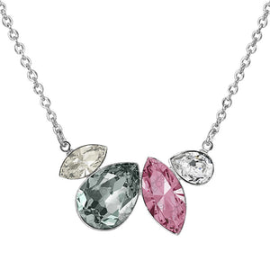 Necklace - Light Rose, Black Diamond and Silver Shade