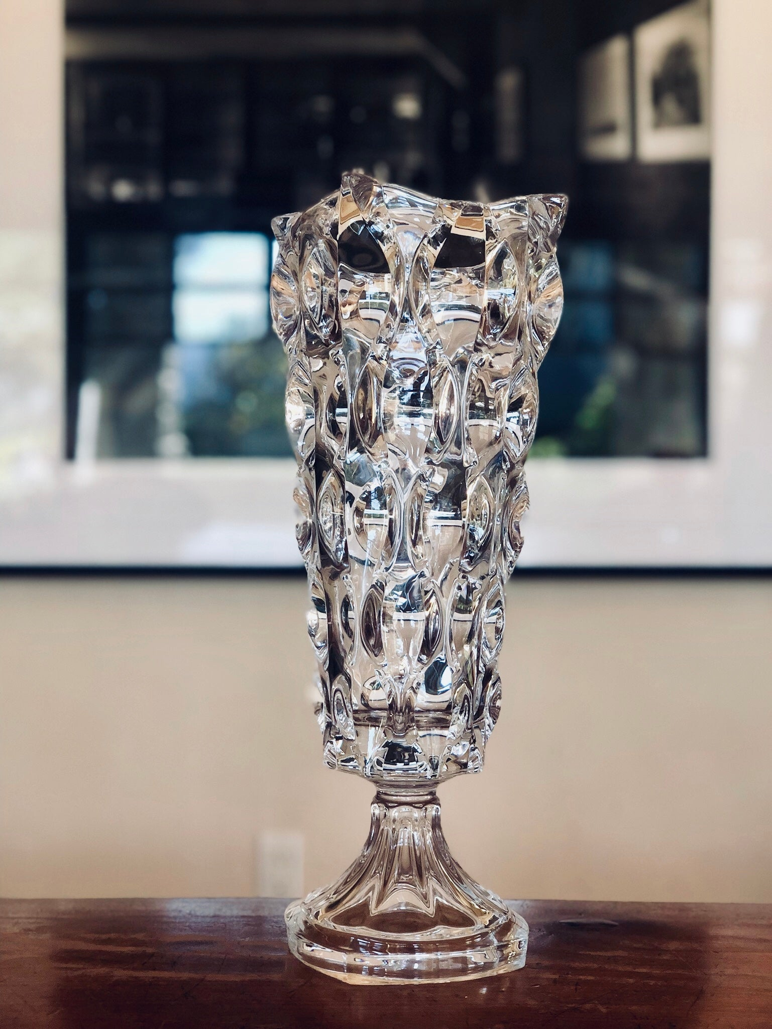 Crystal glass footed vase